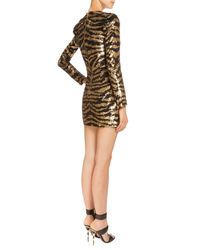 Balmain - Metallic Sequined Tiger-stripe Mini Dress - Lyst