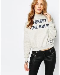 Pull&Bear - Gray High Neck Super Soft Sweat - Lyst