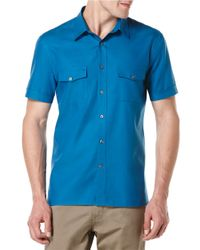 Perry Ellis - Blue Oxford Gusseted Sportshirt for Men - Lyst