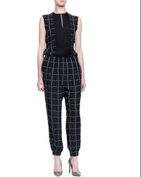 Lanvin - Black Checked Smocked Jogger Pants - Lyst