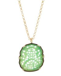 Kenneth Jay Lane | Green Carved Jade Pendant Necklace | Lyst