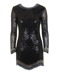 TOPSHOP | Black Petite Limited Edition Zig Zag Hem Dress | Lyst