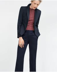 Zara | Blue Double Fabric Blazer | Lyst