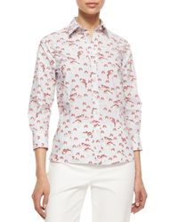 Carolina Herrera - Natural Three-quarter-sleeve Pansy-print Button Blouse - Lyst