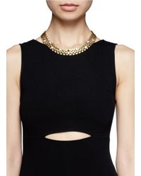 Ela Stone | Metallic 'nicole' Stone Embellished Block Chain Necklace | Lyst