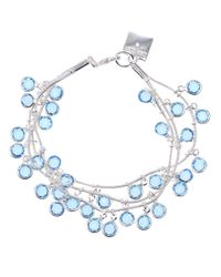 Anne Klein | Blue Silvertone And Stone Layered Bracelet | Lyst