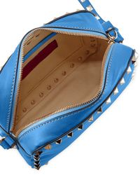 Valentino - Blue Rockstud Camera Small Leather Bag - Lyst