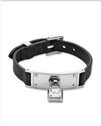 Michael Kors | Black Leather Padlock Wrap Bracelet | Lyst