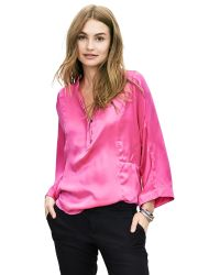Banana Republic | Pink Br Monogram Washed Silk Blouse | Lyst