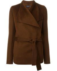 JOSEPH - Brown Belted Wrap Jacket - Lyst