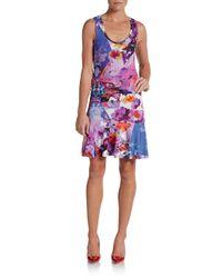 Nicole Miller Artelier | Purple Floral-Print Jersey Tank Dress | Lyst