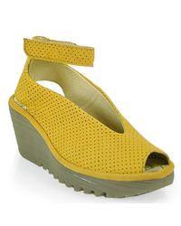 Fly London | Yellow Yala Ankle Strap Peep Toe Wedge | Lyst