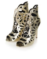 TOPSHOP   Metallic Ravish Laser-cut Sandals   Lyst
