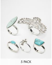 ASOS | Multicolor Eagle Stone Ring Pack | Lyst
