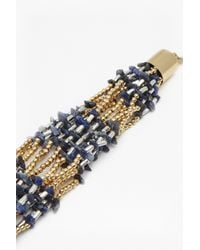French Connection - Metallic Chunky Beaded Bracelet - Lyst