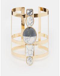 ASOS | Metallic Mono Stone Cage Cuff Bracelet | Lyst