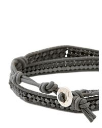 Colana | Gray Leather Wrap Bracelet W/ Silver Hematite | Lyst