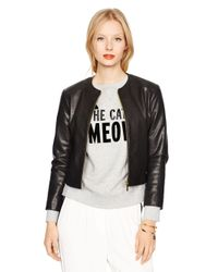 kate spade new york | Black Zip-up Leather Jacket | Lyst