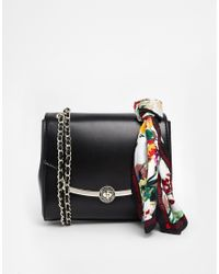 Love Moschino - Black Structured Cross Body Bag with Detachable Scarf - Lyst