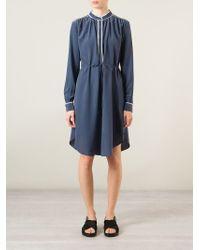 YMC - Blue Asymmetric Hem Shirt Dress - Lyst