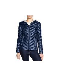 Laundry by Shelli Segal | Blue Hooded Short Packable Puffer Jacket | Lyst