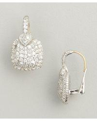 Judith Ripka | Metallic White Sapphire Pave Cushion 'lola' Earrings | Lyst