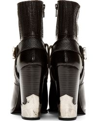Toga Pulla - Black Leather Croc_embossed Ankle Boot - Lyst