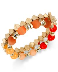 Kenneth Cole | Multicolor Gold-tone Bead Stretch Bracelet Set | Lyst