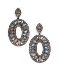 Bavna - Blue Labradorite & Champagne Diamond Pavã© Oval Drop Earrings - Lyst