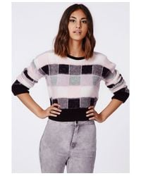 Missguided - Selena Fluffy Check Jumper Pink - Lyst