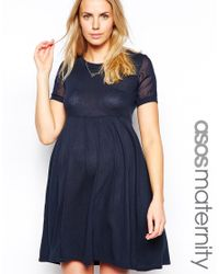 ASOS - Blue Knitted Dress With Chiffon Insert - Lyst