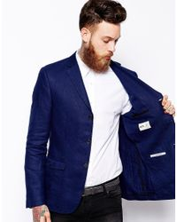 ASOS - Blue Slim Fit Blazer In British 100% Linen for Men - Lyst