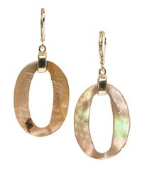Anne Klein | Metallic Mother Of Pearl Drop Earrings | Lyst