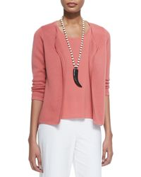 Eileen Fisher - Pink Silk Interlock Shaped Jacket - Lyst