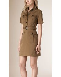 Burberry - Green Stretch Cotton Utility Dress - Lyst