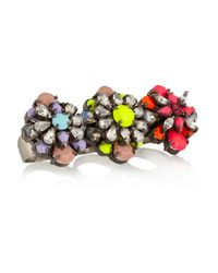Shourouk - Yellow Tyson Gunmetal-Tone Crystal Three-Finger Ring - Lyst