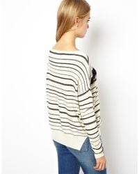 ASOS | Natural Striped Jumper with Lace Detail | Lyst