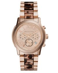 Michael Kors - Pink Ladies Cooper Rose Gold Stainless Steel And Acetate Watch - Lyst