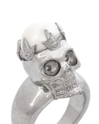 Alexander McQueen | Metallic Pearl Crown Skull Ring | Lyst