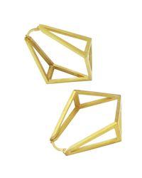 Stephanie Bates - Metallic Gold Inverted Kite Hoop Earrings - Lyst