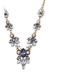 Forever 21 - Blue Clustered Faux Gem Necklace - Lyst