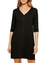 DKNY | Black Button-down Sleep Shirt | Lyst