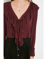 Forever 21 | Purple Ruffled Lace-up Top | Lyst