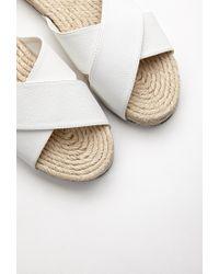 Forever 21   White Espadrille Flatform Slides   Lyst