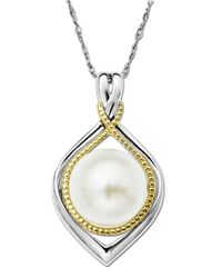 Lord & Taylor | Metallic Pearl Pendant In Sterling Silver With 14 Kt. Yellow Gold Accents 10 Mm | Lyst