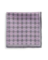 Robert Talbott - Gray Medallion Silk Pocket Square for Men - Lyst