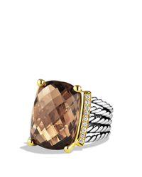 David Yurman - Brown Wheaton Ring With Smoky Quartz And Diamonds And Gold - Lyst