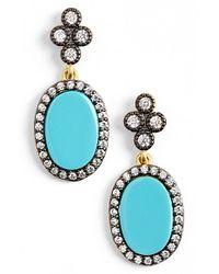 Freida Rothman - Metallic 'femme' Stone Drop Earrings - Gunmetal/ Turquoise - Lyst