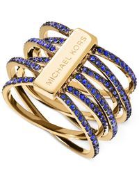 Michael Kors | Metallic Gold-tone Blue Crystal Accents Statement Ring | Lyst