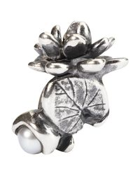 Trollbeads | Metallic Sterling Silver Waterlilies Of July With Pearl Bead | Lyst